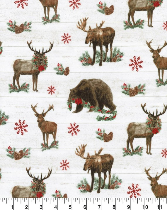 Wilderness Christmas Fabric - Country Christmas Fabric - Bear Christmas Fabric - Elk Christmas Fabric - Moose Christmas Fabric