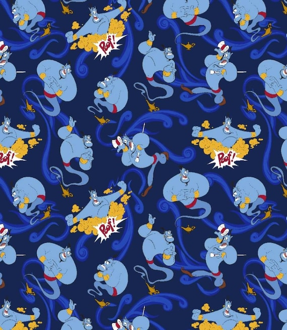 Disneys Genie Fabric - Aladdin Fabric - Blue Genie Fabric by the Yard - Cartoon Genie Fabric