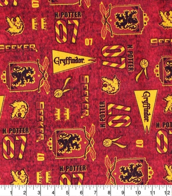 Gryffindor Fabric - Hufflepuff Fabric - Harry Potter Gryffindor Fabric - Quilting Cotton Harry Potter Fabric - Ravenclaw Fabric