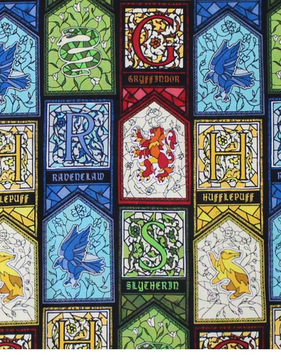 Stained Glass House Fabric - Gryffindor Fabric - Hufflepuff Fabric - Harry Potter Gryffindor Fabric - Quilting Cotton Harry Potter Fabric
