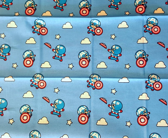 Captain America Kawaii - Avengers Panel Fabric - Captain America - Captain Marvel - Thor - The Hulk - Spider-man