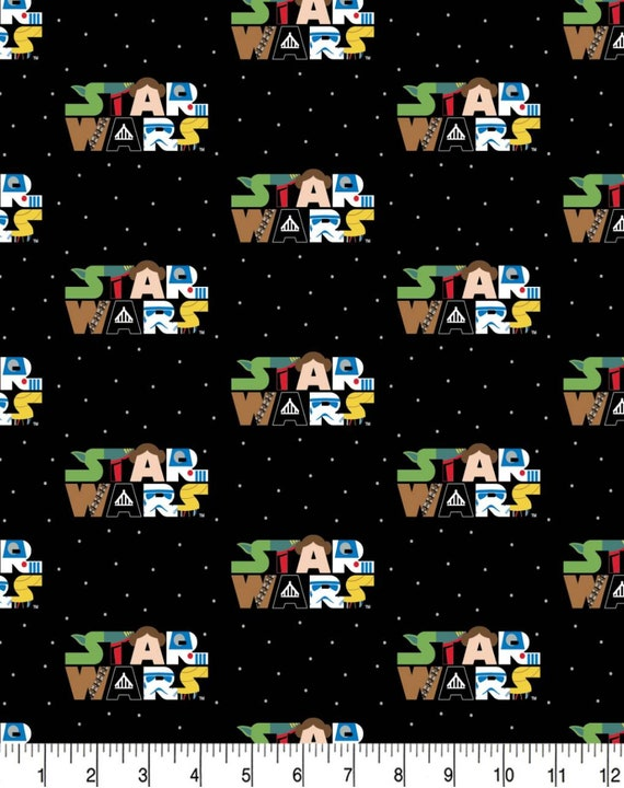 Star Wars Kawaii Fabric - Star Wars Cartoon Fabric - Yoda - Death Star - Luke Skywalker - Princess Leia - C-3PO - Han Solo - Rey - Kylo Ren