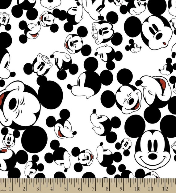 Mickey Mouse Fabric - White Mickey Fabric - Disney Classic Fabric - Mickey Mouse Heads