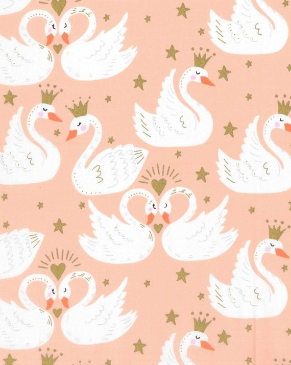 Fairy Tale Swan Fabric - Pink Swan Fabric - Swans and Crowns - Princess Fabric