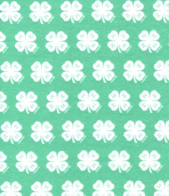4H Flannel Cotton Fabric - FFA Fabric - Future Farmers of America Fabric - Farmer Fabric - Ranch Fabric