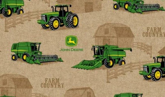 John Deer Fabric by the Yard - Green Tractor Fabric - Farm Fabric