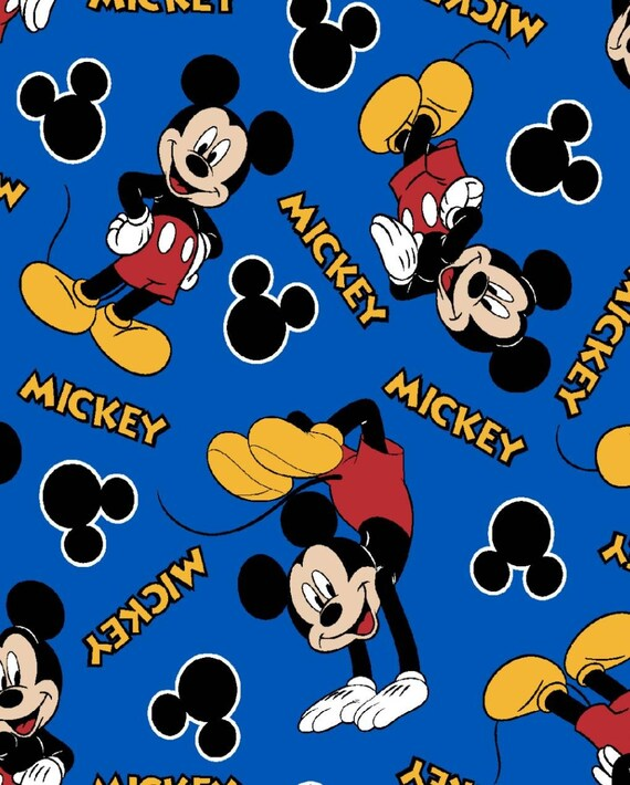 Mickey Mouse Fabric - Blue Mickey Fabric - Disney Classic Fabric