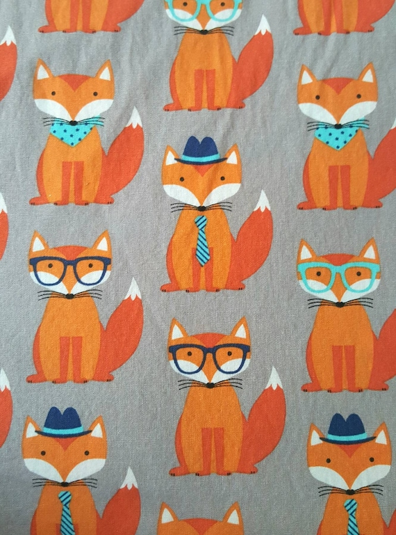 Orange Foxes on Gray Fabric by the Yard - Funny Foxes - Foxes with Glasses - Foxes with Hats