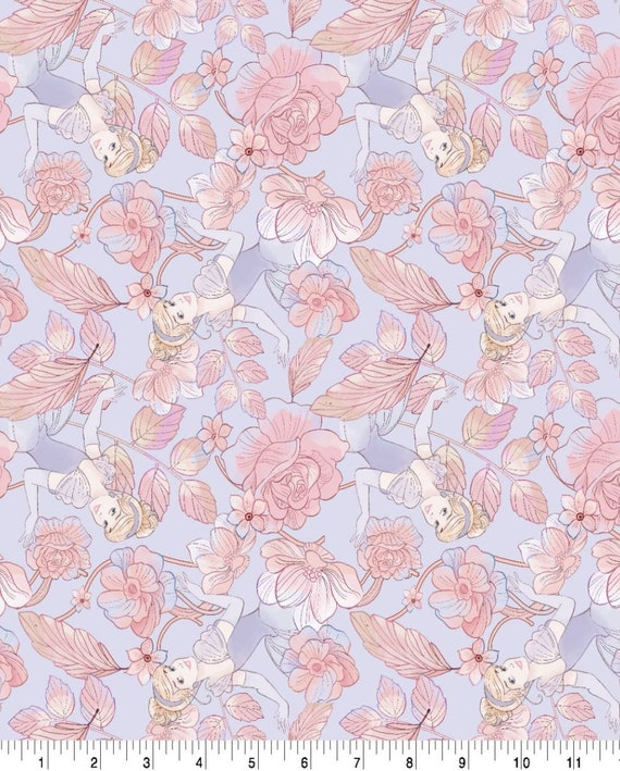 Cinderella Floral Fabric - Cinderella Fabric - Evil Step Mother - Pumkin Carriage - Mice