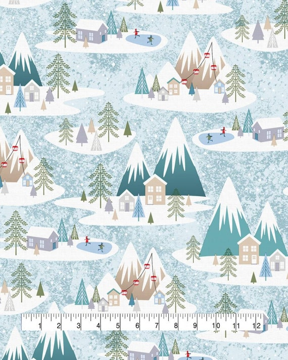 Alpine Village Christmas Fabric - Country Christmas Fabric - Rustic Christmas Fabric - Mountain Christmas Fabric - Christmas Tree Fabric