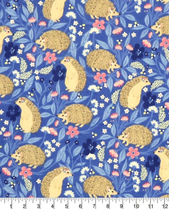 Hedgehog Snuggle Flannel - Floral Snuggle Flannel - Adventure Awaits Flannel Fabric by the Yard