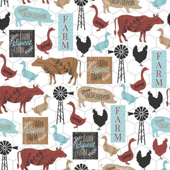 Red Farm Fabric - Ranch Fabric - FFA Fabric - Future Farmers of America Fabric - Farmer Fabric - Cow - Pig - Chicken - Duck - Goose - Hog