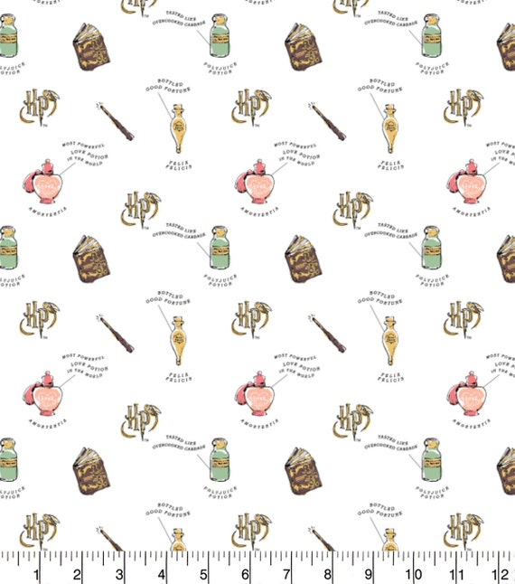 Harry Potter Double Gauze Fabric - Harry Potter Baby Fabric - Harry Potter Lightning Bolt Fabric - Harry Potter Swaddle Fabric - Potions