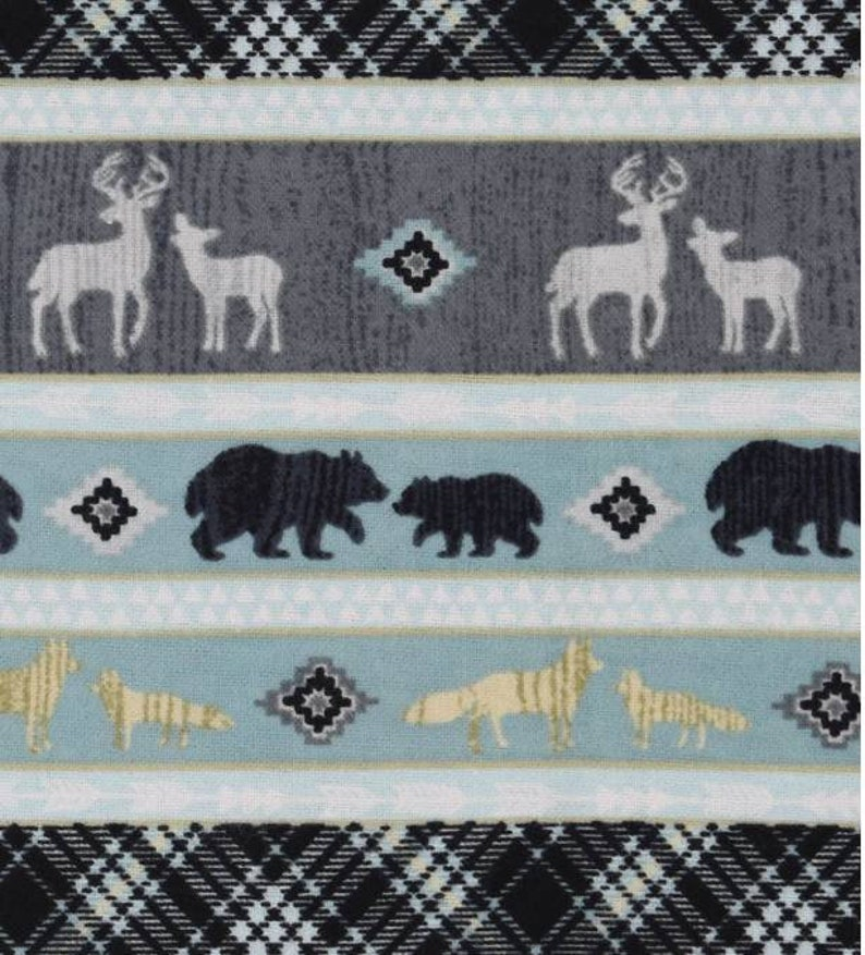 Bear Snuggle Flannel  Deer  Snuggle Flannel  Flannel Fabric image 0