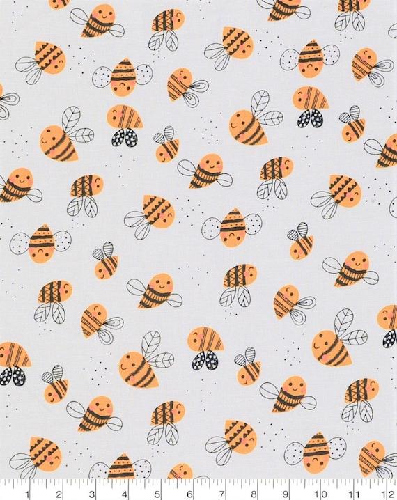 Bumblebee Fabric - Honey Bee Fabric - Cute Bee Fabric - Honey Fabric - Yellow Bee Fabric