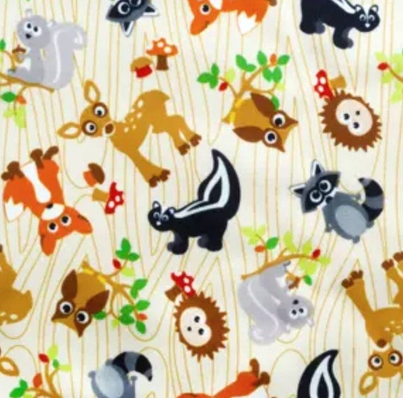Forrest Animal PUL Fabric - Babyville Fabric - Waterproof Fabric - Cloth Diaper Fabric - Bird PUL Fabric - Wet Bag Fabric