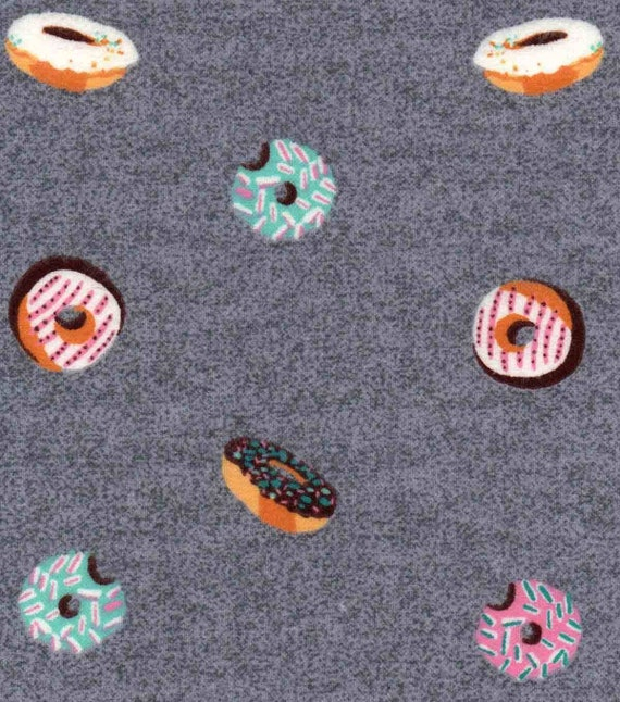 Gray Donut Luxe Flannel Fabric - Donut Fabric - Donut Flannel