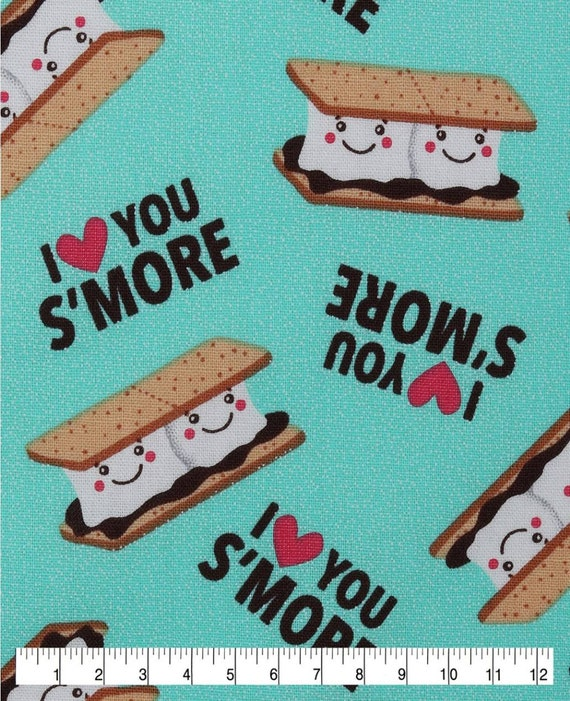 Turquoise Smores Fabric by the Yard - Happy Smores - Cute Camping Fabric - I Love Smores