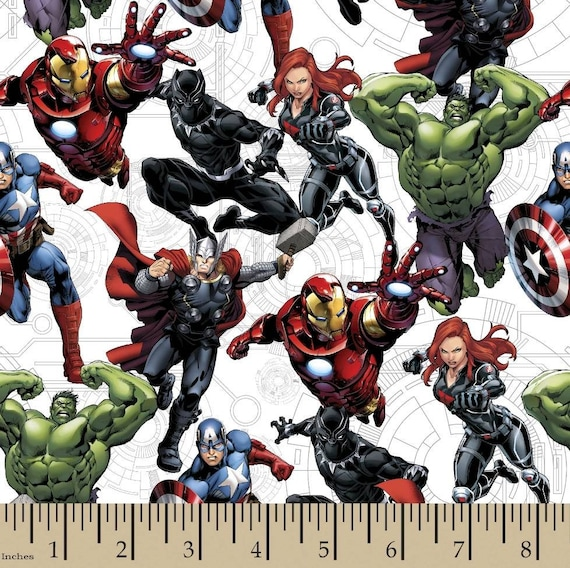 Avengers Fabric - Captain America - Captain Marvel - Thor - The Hulk - Spider-man - Black Panther