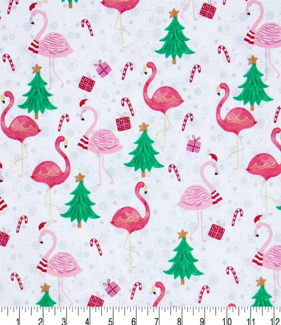 Christmas Glamping - Fabric by the Yard - Flamingo Cotton Christmas Fabric - Candy Canes - Christmas Tree