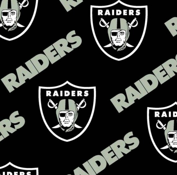Raiders Fabric - Black Raiders Fabric - NFL Football Fabric