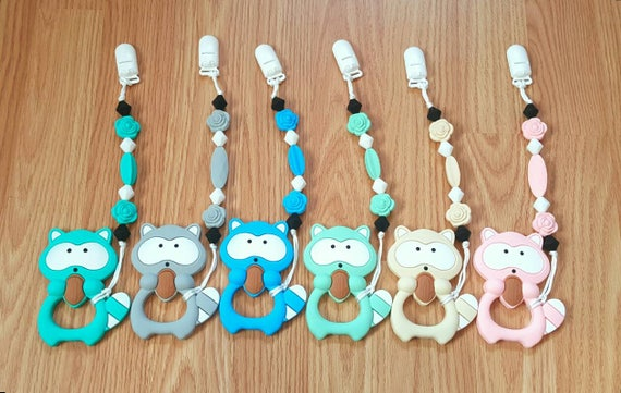 Raccoon Teether Toy - Personalized Teethers - Personalized Baby Shower Gift - Unique Baby Shower Gift - Pacifier Clip with Silicone Teether