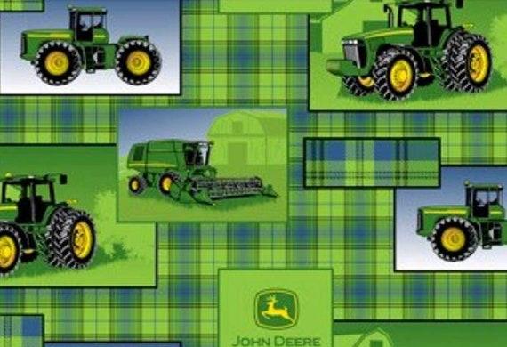 John Deer Fabric by the Yard - Green Tractor Fabric - Farm Fabric