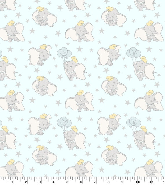 Dumbo Baby Fabric - Classic Dumbo - Blue Dunno Fabric - Quilting Cotton