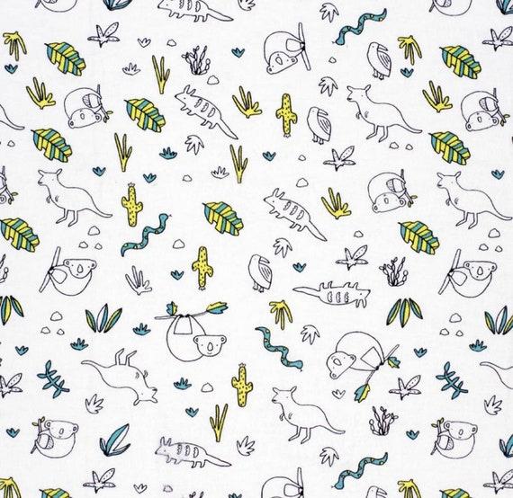 Australia Snuggle Flannel - Koala Snuggle Flannel - Kangaroo Fabric - Adventure Awaits Flannel Fabric by the Yard