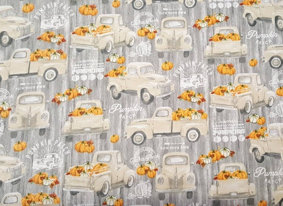 Farmers Market Truck Fabric - Pumpkin Patch Fabric - Rustic Truck Fabric - Country Fabric - Farm House