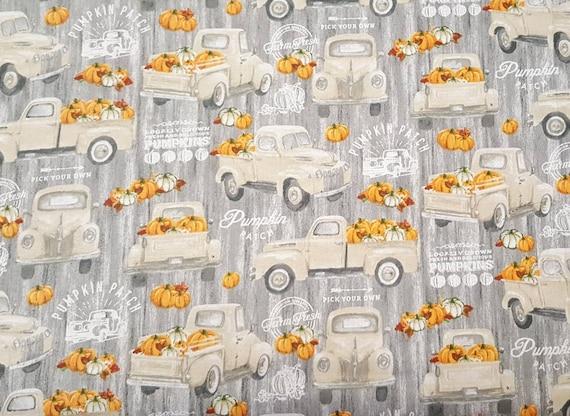 Farmers Market Truck Fabric - Pumpkin Patch Fabric - Rustic Truck Fabric - Country Fabric - Farm House