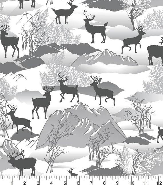 Elk Flannel Fabric - Deer Snuggle Flannel - Mountains Snuggle Flannel - Flannel Fabric by the Yard - Christmas Flannel