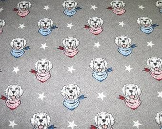 Gray Patriotic Dog Luxe Flannel Fabric - Dog Fabric - Dog Flannel - Bandana Dog Fabric
