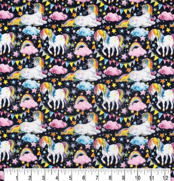 Unicorn Cotton Fabric by the Yard - Unicorns on Gray - Cute Little Unicorns - Be Yourself or Be A Unicorn - Sparkle Like A Unicorn