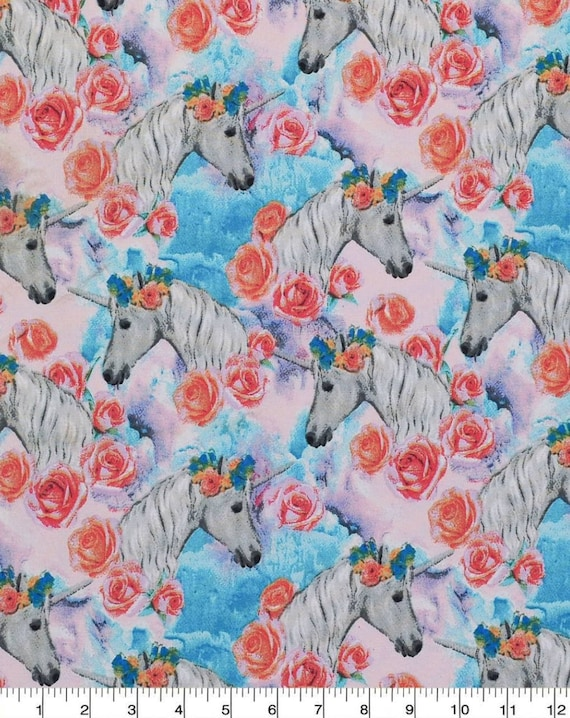 Unicorn Cotton Fabric by the Yard - Unicorns on Gray - Cute Little Unicorns - Be Yourself or Be A Unicorn - Sparkle Like A Unicorn