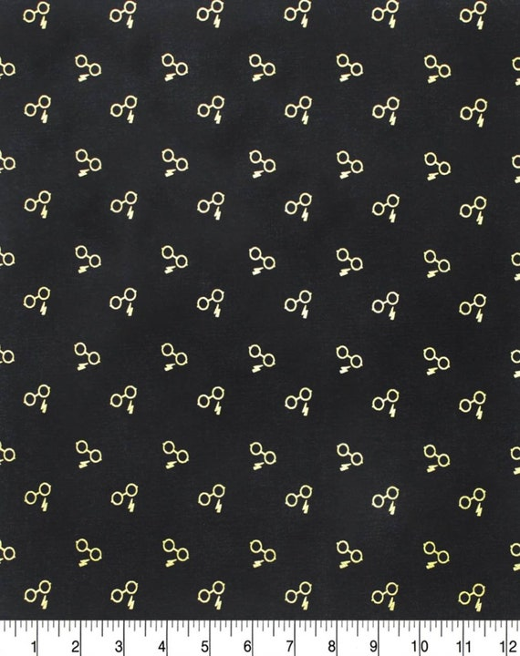 Harry Potter Glasses Fabric - Harry Potter Gryffindor Fabric - Black Harry Potter Fabric - Quilting Cotton Harry Potter Fabric