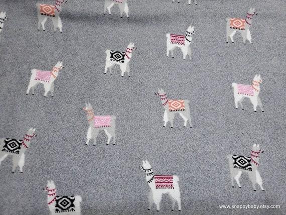 Gray Llama Luxe Flannel - Llama fabric -Llama Flannel Fabric