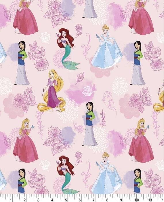 Disney Princess Fabric - Mulan - Ariel - Aurora - Bell - Rapunzel - Cinderella - Jasmine