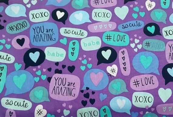 Text Message Fabric - Emoji Fabric - Hashtag Fabric