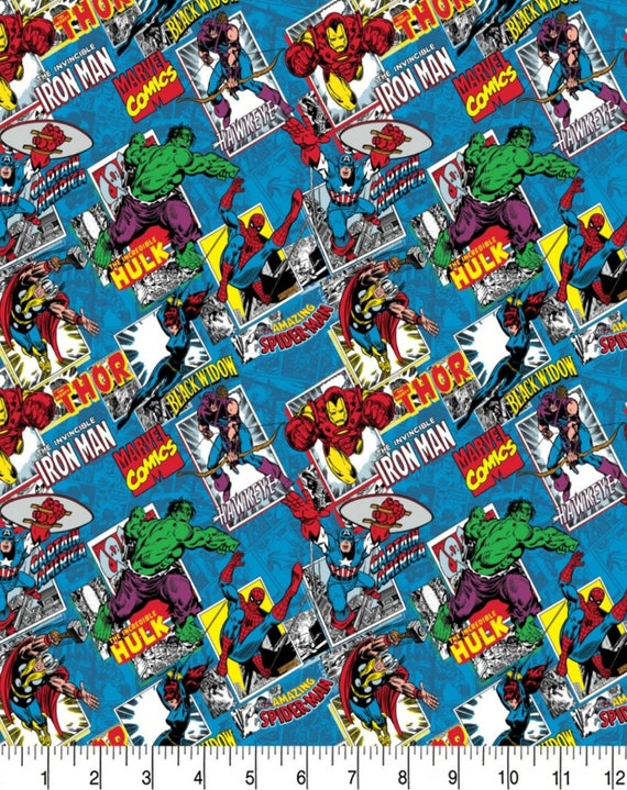 Avengers Comic Fabric - Captain America - Captain Marvel - Thor - The Hulk - Spider-man