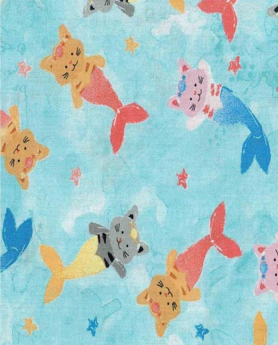 Mermaid Cotton Fabric by the Yard - Rainbow Mermaids - Watercolor Mermaids - Dolphins - Sea Horses - Squid - Octopuses