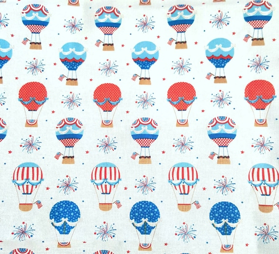 Patriotic Hot Air Balloon Fabric - Patriotic Fabric - America Flag Fabric - 4th of July Fabric - Fireworks
