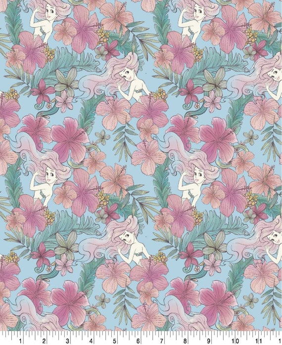 Little Mermaid Floral Cotton Fabric - Ariel Fabric - Under the Sea