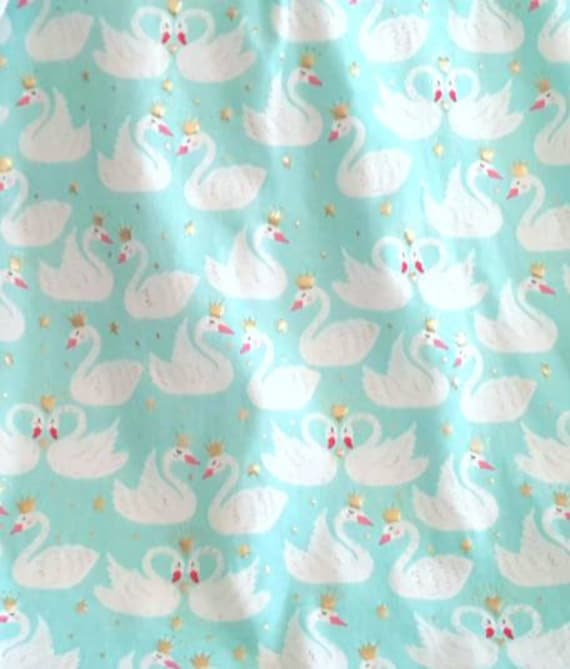 Fairy Tail Swan Fabric - Aqua Blue Swan Fabric - Swans and Crowns - Princess Fabric - Swan Knit Fabric