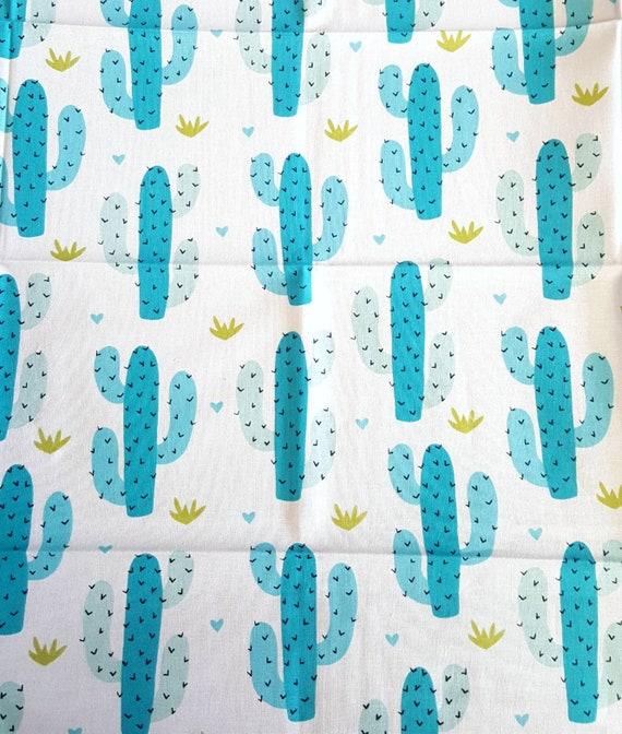 Cactus Fabric - Blue Cactus Fabric - Cactus - Flowers