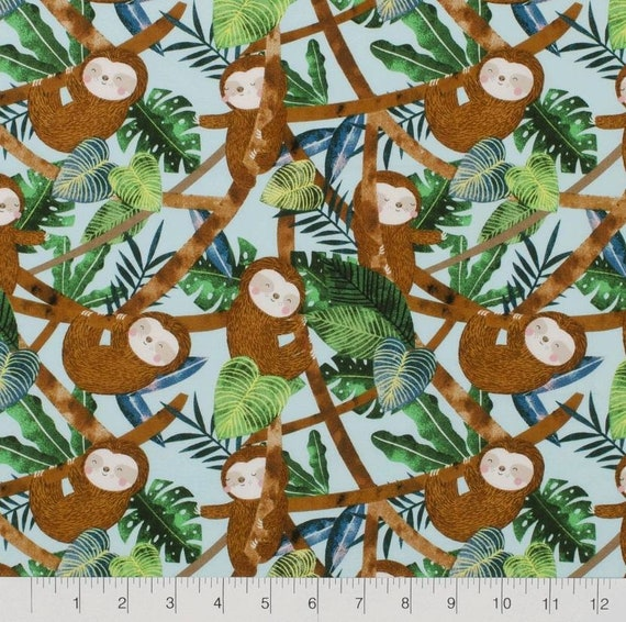 Turquoise Sloth Fabric by the Yard - Sloth in Tree - Cute Sloth Fabric