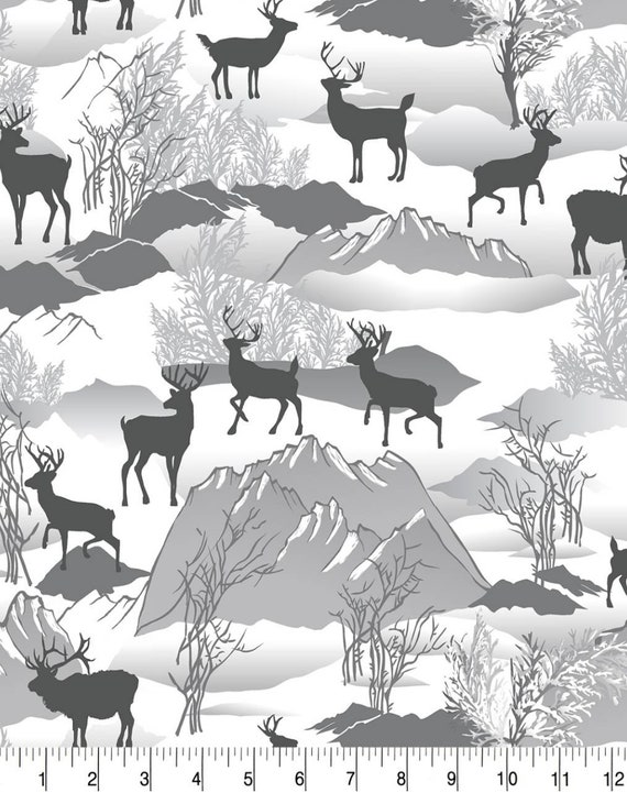 Deer Snuggle Flannel - Wilderness Snuggle Flannel - Mountains Flannel Fabric by the Yard