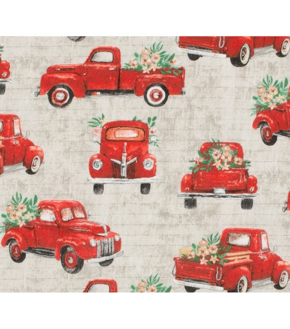Floral Red Truck Fabric - Christmas Truck Fabric - Red Truck Fabric - Rustic Christmas Fabric - Country Christmas Fabric - Rustic Red Truck