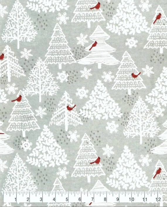 Cardinal Bird Super Snuggle Flannel - White and Red Snuggle Flannel - Forrest Flannel Fabric by the Yard