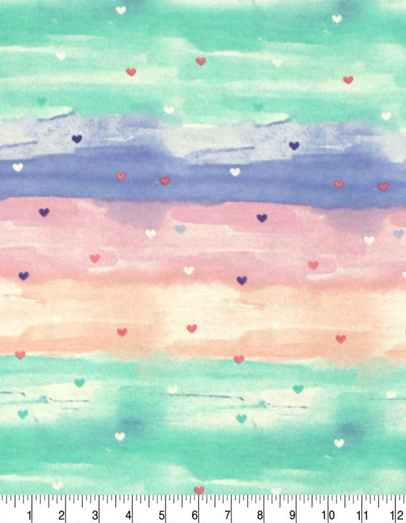 Hearts Super Snuggle Flannel - Rainbow Heart Fabric - Baby Blanket Fabric